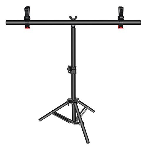 Neewer T-shape Background Backdrop Support Stand Kit: 16-30 inches/40-76 centimeters Adjustable Tripod Stand and 24 inches/60 centimeters Crossbar with 2 Tight Clamps for Video Studio Photography