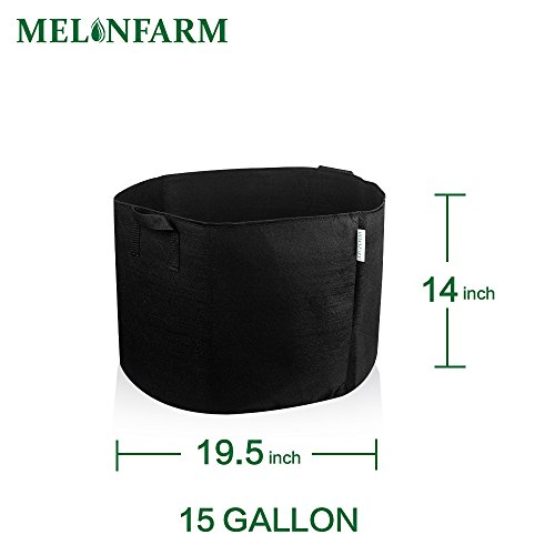 MELONFARM 5-Pack 15 Gallon Plant Grow Bags Heavy Duty Aeration Fabric Pots Hydroponics Containers With Handles