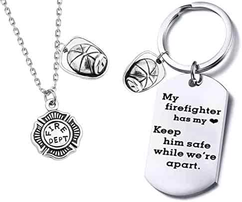 dd868362f FUSTYLE Firefighter Gifts Be Safe Keychain Firemans Wife Gift My  Firefighter Has My Heart Keep Him