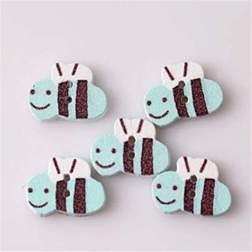10PCs Sweet Bee Buttons Fit Sewing Scrapbooking Craft 2 Holes Wooden DIY 10PCs