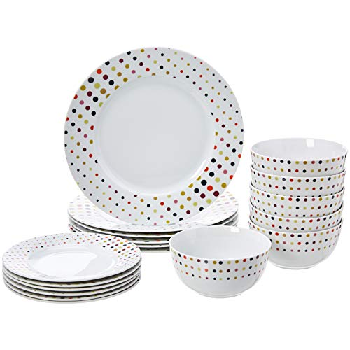 AmazonBasics 18-Piece Dinnerware Set – Dots, Service for 6 $19.99