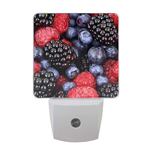 Berries Blackberries Plug in LED Night Light Automatic On/Off Nightlight for Kids, Adults
