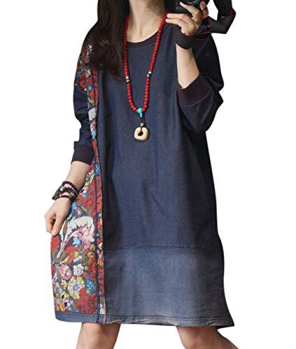 Denim Floral Cardigan - YESNO YN3 Women Casual Loose Denim Sweatshirt Jacket Ethnic Floral Patchwork Stitched Distressed Long Sleeve/Pockets