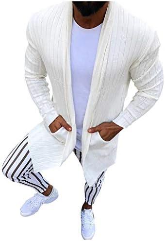 Aliciga カーディガン ニット 無地 メンズ ロング ジャケット 長袖 厚手 ニットセーター 秋冬 コート ボタンなし 体型カバー 前開き ストレッチ カジュアル シンプル おしゃれ 羽織 コーディガン ロングカーデ ビジネス 通勤 普段着 ストリート