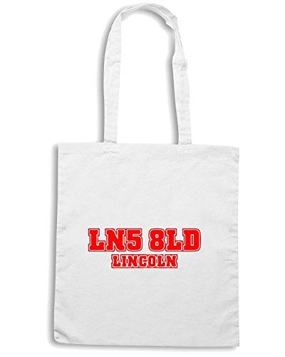 T-Shirtshock - Bolsa para la compra WC1047 lincoln-postcode-tshirt design Blanco
