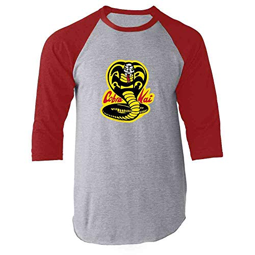 (Cobra Kai Karate Kid Dojo Retro Martial Arts Red M Raglan Baseball Tee Shirt )