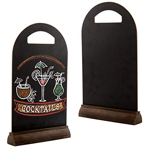 MyGift Tabletop 13-Inch Dual-Sided Frameless Chalkboard Signs with Brown Wood Base, Set of 2