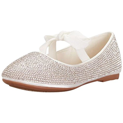 - David's Bridal Girls Crystal Ballet Flats with Ribbon Bow Style RUBYY, White, 10T