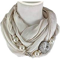 Sciarpa gioiello, foulard panna con dettaglio brillante in argilla polimerica. Con Swarovski. Prodotto artigianale, fatto a mano in Italia, Made in Italy