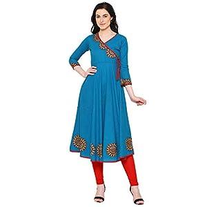 Yash Gallery Women's Cotton Slub Angrakha Style Anarkali Kurta (Teal)