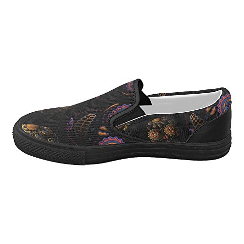 Women's Sugar Skull Dia De Los Muertos Slip-on Canvas Fashion Sneakers Shoes