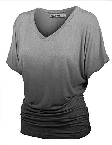 Love Dip Dye - WT1115 Womens V Neck Short Sleeve Dip Dye Dolman Top with Side Shirring XL BLACK