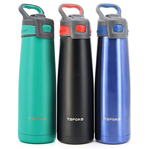 TOPOKO 25 Ounce AUTOFLIP Stainless Steel Double Wall Water Bottle