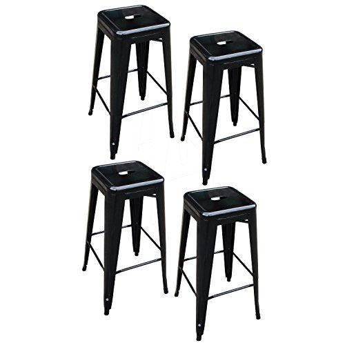 BTEXPERT Four of 30-inch Tabouret Metal Counter Bar Stools – Modern Bright Glossy Black Style Stackable Industrial Stool Set of 4