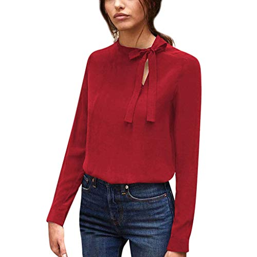 TOTOD Blouse Shirts Women Elegant Chiffon Tops Bow Splice Lace O-Neck Solid Jumper Casual Tunic - Anniversary Fitted T-shirt