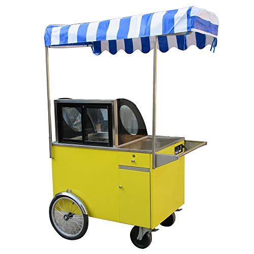 ice cream vending tricycle cart/Ice cream bicycle/ice pop bike/gelato hand push cart/snack food cart/street food vending tricycle/ice cream vending cart with full refrigerant,canopy ()