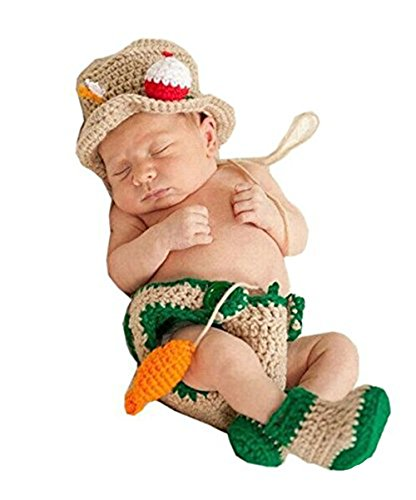 [CX-Queen Baby Photography Prop Handmade Crochet Knit Fisherman Hat Diaper Boot Set] (Fisherman Costume)