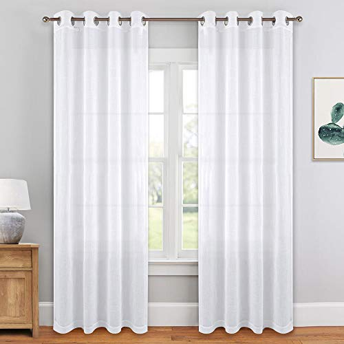 PONY DANCE Window Sheers Curtains - White Voile Panels Grommet Top Thick Faux Linen Look Design Semi-Sheer Curtain Drapes Light Filter for Living Room Bay Windows, 52 x 84 in, -