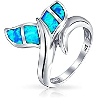KassarinShop Blue Opal 925 Silver Women Mermaid Tail Jewelry Wedding Engagement Ring Sz 6-10 (10)