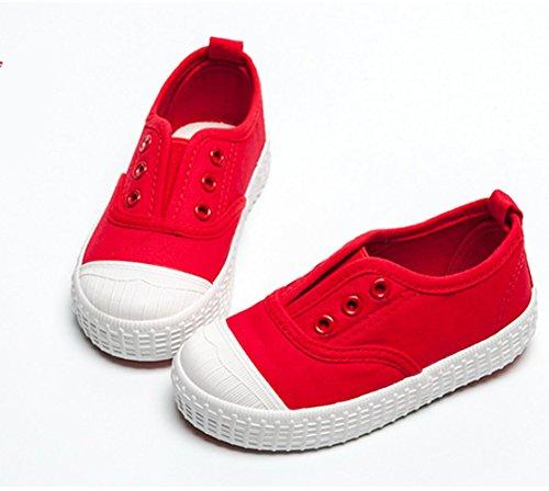 YC gut Jungen Mädchen Kinder Leinwand Schuhe-Sneakers, knöchelfrei Sneakers Unisex Schuhe Flach Pumpen, rot - rot - Größe: 36 EU
