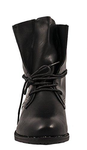 Elara Damen Stiefelette | Biker Boots | Trendy Lederoptik negro (schwarz 3)