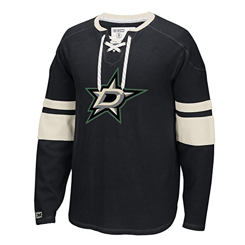 - NHL Dallas Stars Men's CCM Long Sleeve Jersey Crew Top, Large, Black
