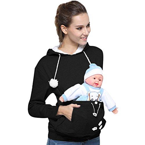 creativity8 Pet Pocket Hoodie Kangaroo Pullovers For Women Unisex Cat Pet Casual Blouse Plus Size Pullovers Ears Sweatshirt Front Pocket. (Black, (Acetate Blouse)