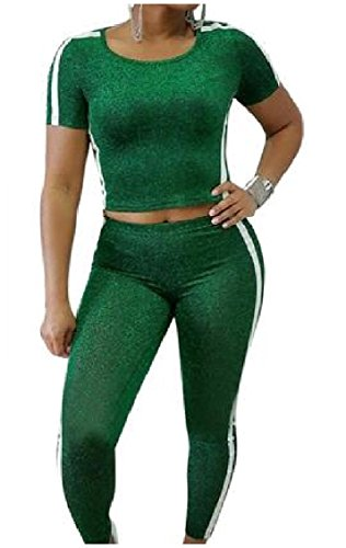 LianXiYou Women Top and Pants Running Fitting Tri-Color Stripe Suit Tracksuits Green M ()