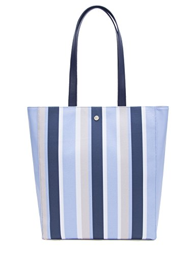 The Lovely Tote Co. Women's Tonal Striped Vegan Leather Large Shopper Tote Bag