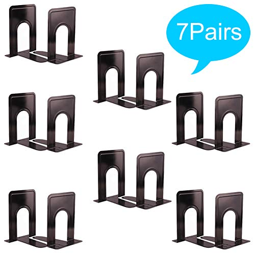 (Metal Bookends, Universal Nonskid Heavy Duty Book Ends Support,Book Stopper for School/Office/Home/Library-6.7