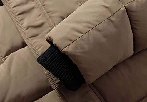 Warm Jacket Pockets Coat Outwear Hooded Front with Zipper Men Down Parka Coat Rompers Kaki Apparel Parka Men's 7w5qxEy6FP