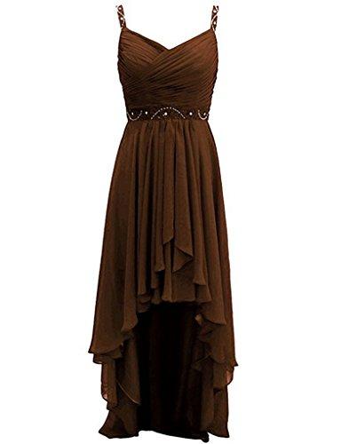 Bridesmaid Long Wedding Front Dress Chiffon A Zipper Back Dresses Beads Short Back Low Straps Chocolate Line High RUwvq6z