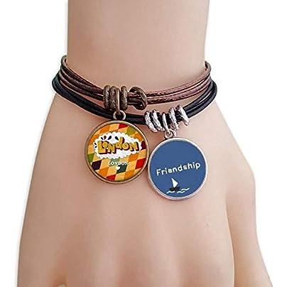 YMNW Love London Britain Lattice Friendship Bracelet Leather Rope Wristband Couple Set Estimated Price -
