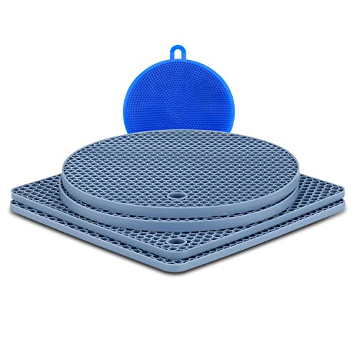 (Silicone Trivet Mats Hot Pot Holders and Silicone Trivets Multipurpose Hot Trivets Heat Insulated Pads Round Cup Coasters & Pans Mat with Brush, Heat Resistant to 446°F, Non-slip durable flexible)