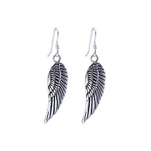 Angel Wing Dangle (Silverly Women's .925 Sterling Silver Angel Wing Feather Dangle Earrings)