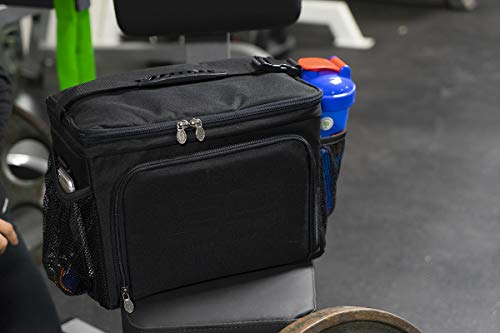 Isolator Fitness 6 Meal ISOCUBE Meal Prep Management Insulated Lunch Bag Cooler with 12 Stackable Meal Prep Containers, 3 ISOBRICKS, and Shoulder Strap - MADE IN USA (Blackout) by Isolator Fitness (Image #9)