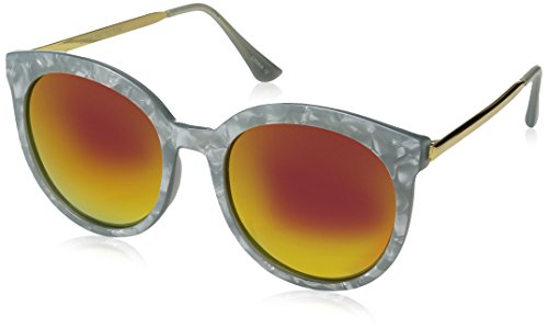 zeroUV Women's Oversized Marble Finish Metal Temple Mirrored Lens Round Sunglasses, Grey Gold / Magenta Mirror, 55 - Grey Marble Temple