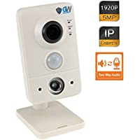 GW Security 5-Megapixel (2592x1920) IP Indoor 1920P WiFi Wireless Cube Camera Built-In Microphone and Speaker, 2.8mm Wide Angle, Two Way Audio & Night Vision Audio Recording, Up to 128GB SD