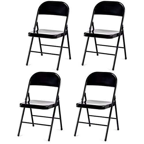 - Giantex 4-Pack Folding Chairs Steel Frame Heavy Duty Armless Home Office Party Furniture Use, Black