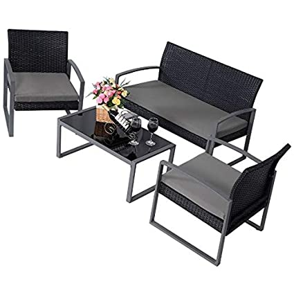 Amazon Com Patio Furniture Set Clearance Conversation 4 Piece