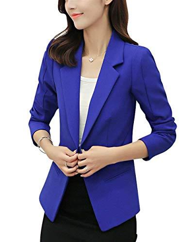 Cappotto Con Moda Ufficio Tasche Manica Button Slim Autunno Blau Colore Puro Tailleur Saphir Fit Primaverile Blazer Business Giacca Da Ragazza Lunga Eleganti Donna Giacche xfnRaZw8xq
