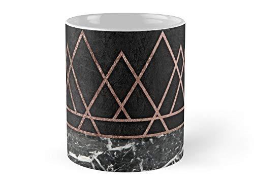 (Hued Mia Elegant Rose Gold Triangles & Black & White Marble Mug - 11oz Mug - Features wraparound prints - Dishwasher safe - Made from Ceramic - Best gift for family friends)