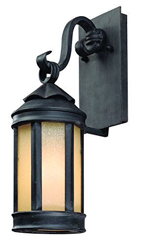 "Troy Lighting Andersons Forge 15.75""H 1-Light Outdoor Wall Lantern - Antique Iron Finish with Ivory Seeded Glass"
