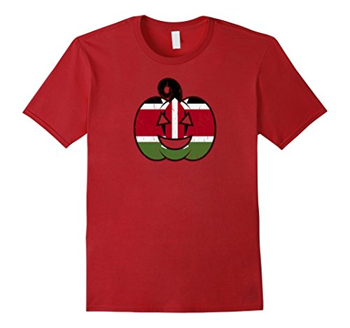 Mens Kenyan Halloween Pumpkin T-Shirt - Kenya Flag Costume Gift XL Cranberry