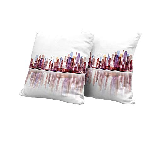 All of better Stool Cushion Cover City,Landscape Modern Skyscrapers Metropolitan Silhouette Illustration Abstract Composition,Multicolor Outdoor Pillow Covers 16x16 INCH 2pcs