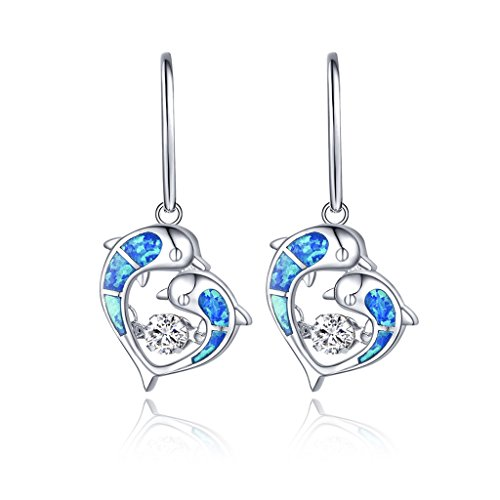 YL Dancing Diamond Sterling Silver Opal Filigree Mother and Child Dolphins Heart Dangle Earrings with White Gold (Diamond Cut Dolphin Earrings)