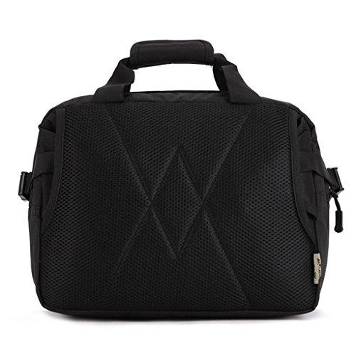 cinmaul Bolsa de mensaje de ocio exterior Gran Capacidad Bolsa de viaje portátil bolso de mano Varios colores camouflage Negro - negro