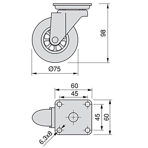 Emuca 2036020 Lote de 4 Ruedas pivotantes Transparentes para Mueble 2 sin Freno diámetro 50mm con Placa de Montaje y rodamiento de Bolas, 50 mm: Amazon.es: ...