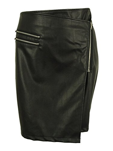 Junarose Womens Plus Jruma Faux Leather Zipper Trim Wrap Skirt Black 2X