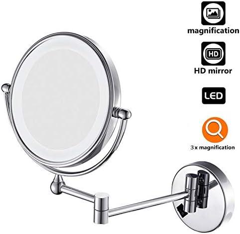 ライトが付いているウォールマウント化粧鏡、バスルームの家に のLEDライトダブルフェイス化粧拡張可能バニティミラーで3回化粧鏡,Usb charging